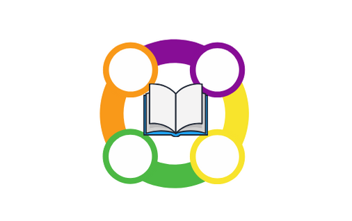 Multicolored circle with 4 open circle points and a book in the middle