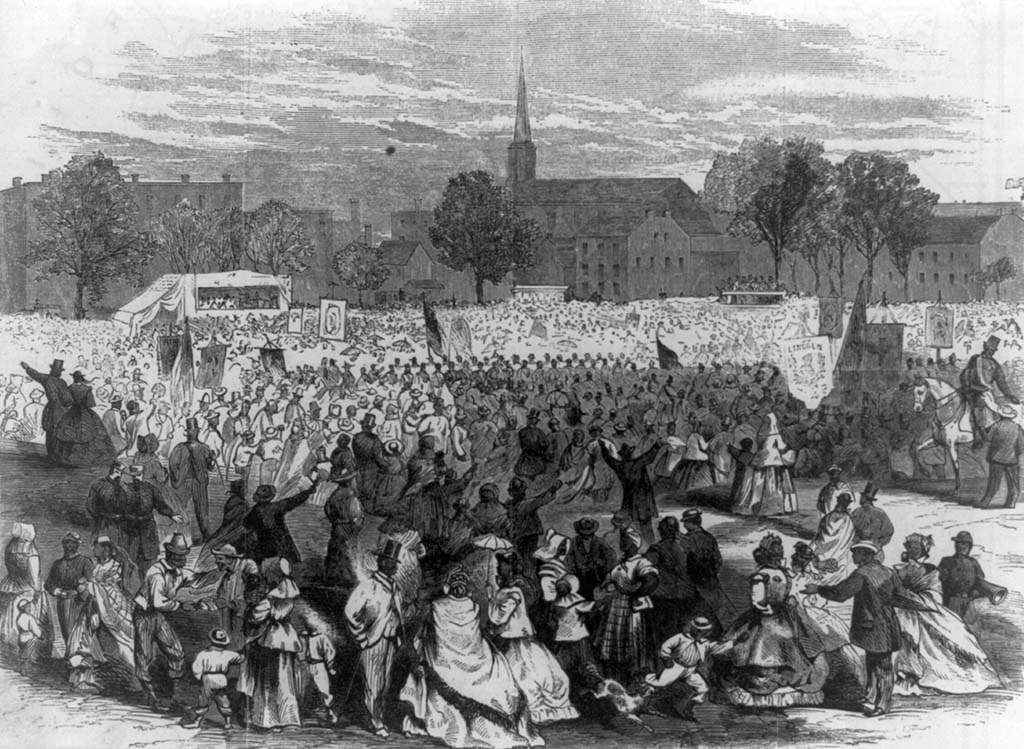 Black and white illustration of Black Americans gathered in DC in 1866 to celebrate the anniversary of the 13th amendment