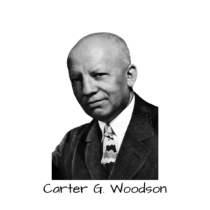 Black and white image of Carter G Woodson